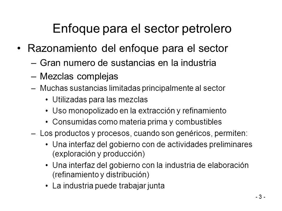 - 3 - Enfoque para el sector petrolero Razonamiento del enfoque para el sector –Gran numero de sustancias en la industria –Mezclas complejas –Muchas s