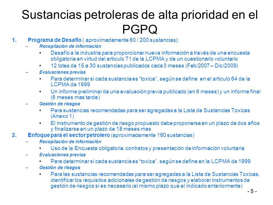 - 5 - Sustancias petroleras de alta prioridad en el PGPQ 1.Programa de Desafío ( aproximadamente 60 / 200 sustancias): –Recopilación de información De