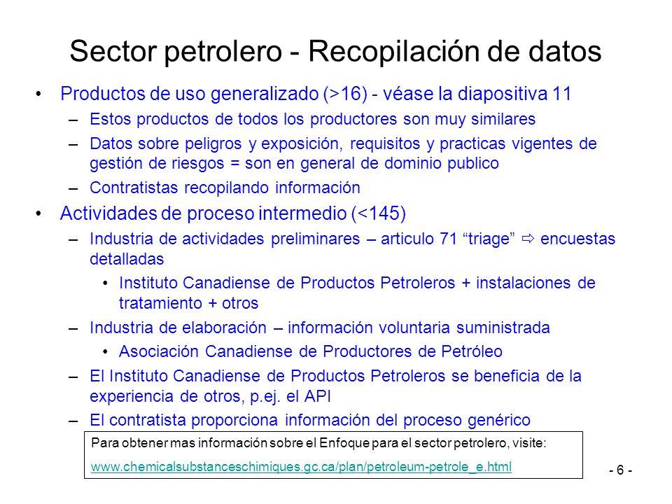 - 6 - Sector petrolero - Recopilación de datos Productos de uso generalizado (>16) - véase la diapositiva 11 –Estos productos de todos los productores