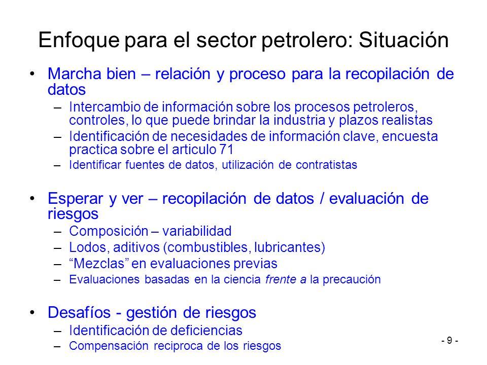 - 9 - Enfoque para el sector petrolero: Situación Marcha bien – relación y proceso para la recopilación de datos –Intercambio de información sobre los