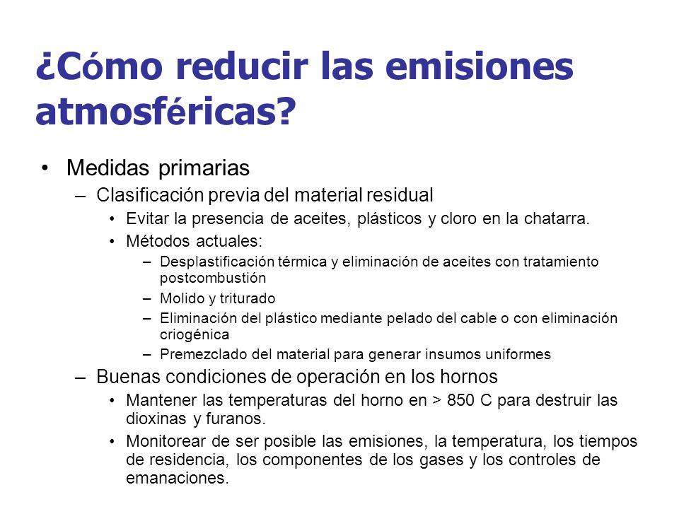 ¿C ó mo reducir las emisiones atmosf é ricas? Medidas primarias –Clasificación previa del material residual Evitar la presencia de aceites, plásticos