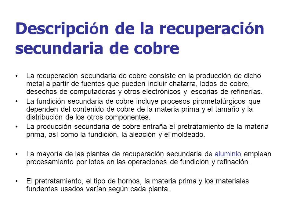 Descripci ó n de la recuperaci ó n secundaria de cobre La recuperación secundaria de cobre consiste en la producción de dicho metal a partir de fuente