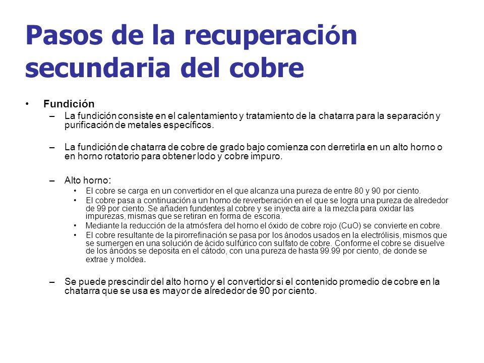 Pasos de la recuperaci ó n secundaria del cobre Fundición –La fundición consiste en el calentamiento y tratamiento de la chatarra para la separación y