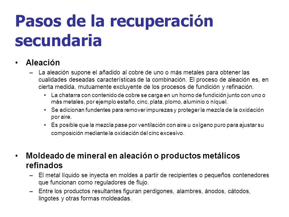 Pasos de la recuperaci ó n secundaria Aleación –La aleación supone el añadido al cobre de uno o más metales para obtener las cualidades deseadas carac