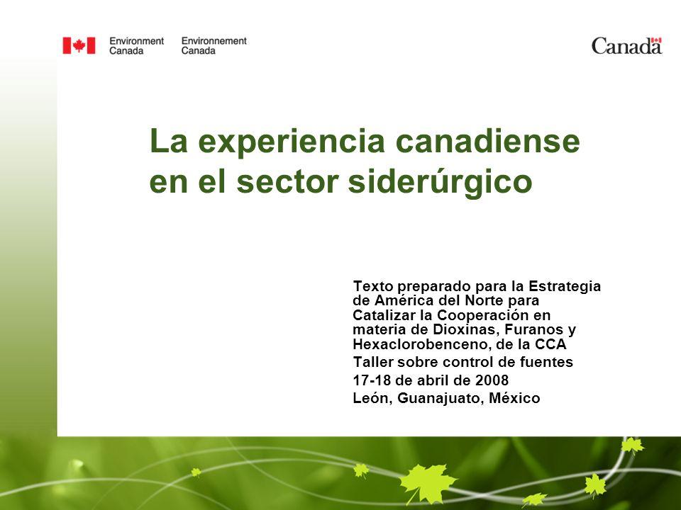 La experiencia canadiense en el sector siderúrgico Texto preparado para la Estrategia de América del Norte para Catalizar la Cooperación en materia de Dioxinas, Furanos y Hexaclorobenceno, de la CCA Taller sobre control de fuentes 17-18 de abril de 2008 León, Guanajuato, México