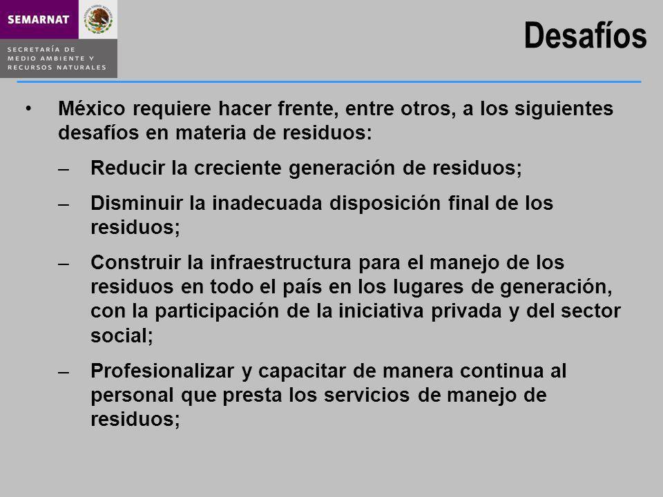 Desafíos México requiere hacer frente, entre otros, a los siguientes desafíos en materia de residuos: –Reducir la creciente generación de residuos; –D