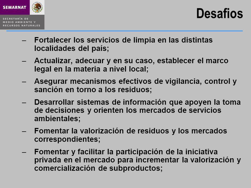 Desafios –Fortalecer los servicios de limpia en las distintas localidades del país; –Actualizar, adecuar y en su caso, establecer el marco legal en la