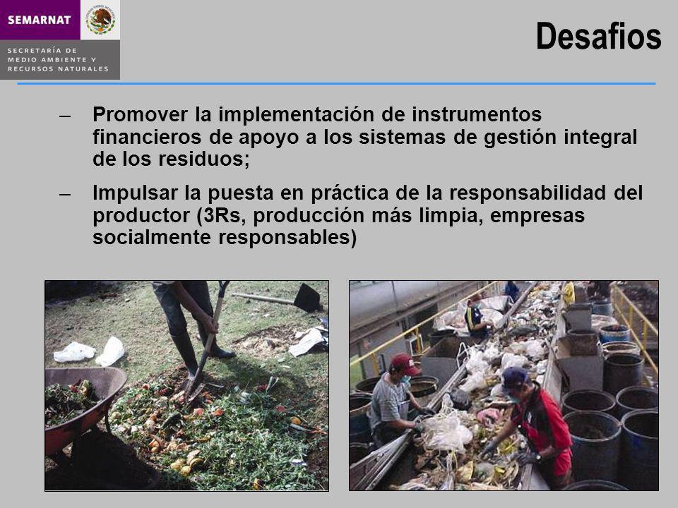 Desafios –Promover la implementación de instrumentos financieros de apoyo a los sistemas de gestión integral de los residuos; –Impulsar la puesta en p