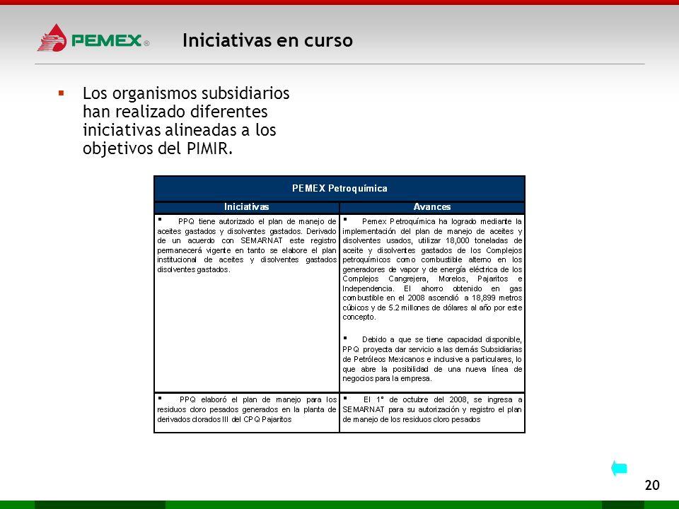 Iniciativas en curso 20 Los organismos subsidiarios han realizado diferentes iniciativas alineadas a los objetivos del PIMIR.