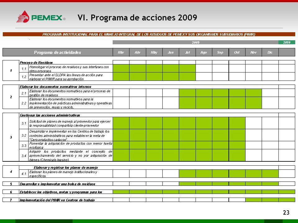 VI. Programa de acciones 2009 23