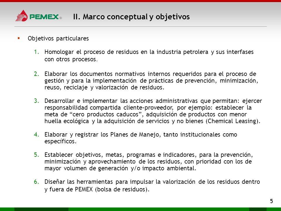 II. Marco conceptual y objetivos 5 Objetivos particulares 1.Homologar el proceso de residuos en la industria petrolera y sus interfases con otros proc