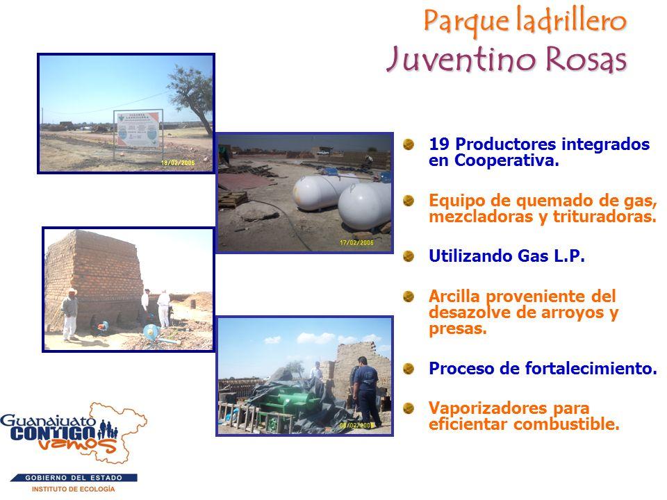 Parque ladrillero Juventino Rosas 19 Productores integrados en Cooperativa. Equipo de quemado de gas, mezcladoras y trituradoras. Utilizando Gas L.P.