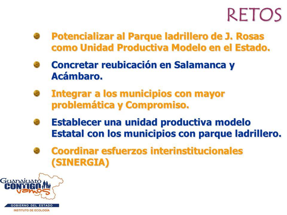 RETOS Potencializar al Parque ladrillero de J. Rosas como Unidad Productiva Modelo en el Estado. Concretar reubicación en Salamanca y Acámbaro. Integr