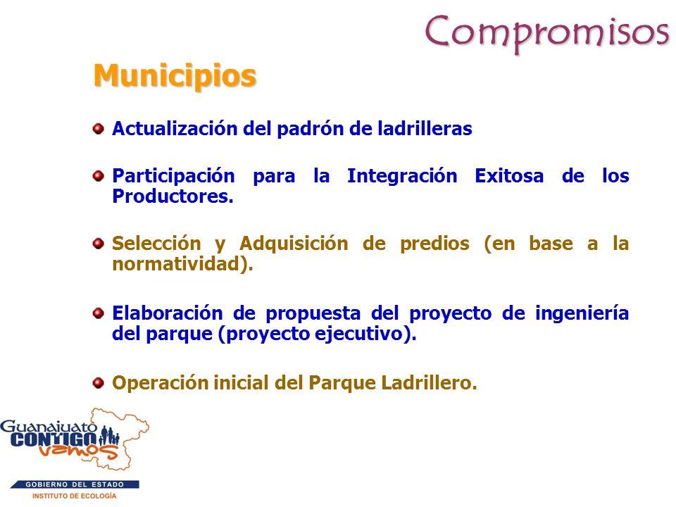 Municipios Municipios Actualización del padrón de ladrilleras Participación para la Integración Exitosa de los Productores. Selección y Adquisición de