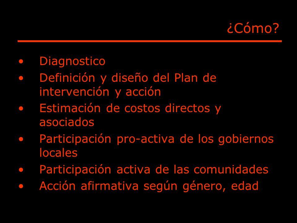 ¿Cómo? Diagnostico Definición y diseño del Plan de intervención y acción Estimación de costos directos y asociados Participación pro-activa de los gob