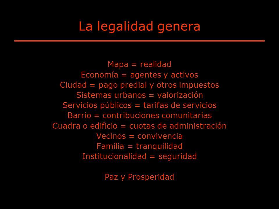 La legalidad genera Mapa = realidad Economía = agentes y activos Ciudad = pago predial y otros impuestos Sistemas urbanos = valorización Servicios púb