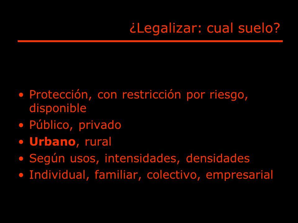¿Legalizar: cual suelo? Protección, con restricción por riesgo, disponible Público, privado Urbano, rural Según usos, intensidades, densidades Individ