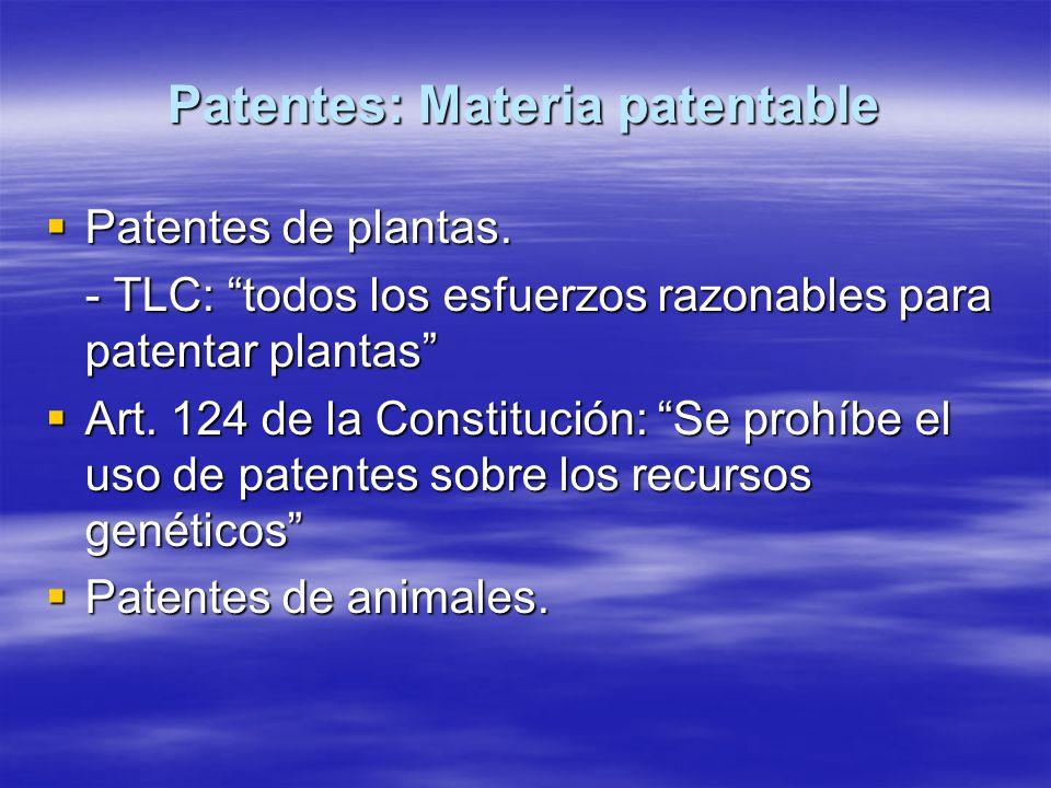 Patentes: Materia patentable Patentes de plantas. Patentes de plantas. - TLC: todos los esfuerzos razonables para patentar plantas Art. 124 de la Cons