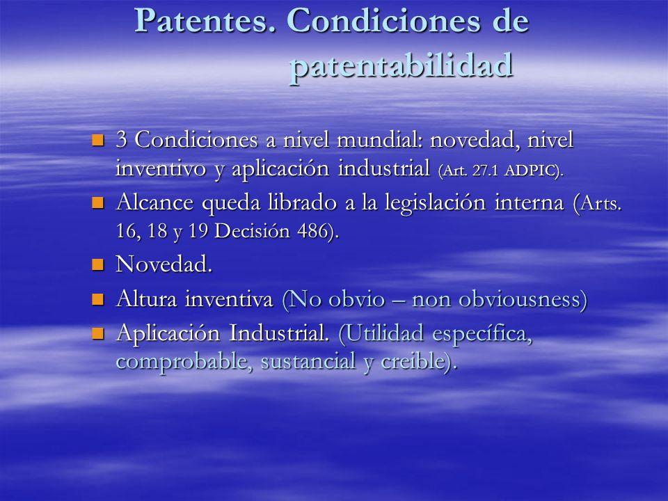 Patentes. Condiciones de patentabilidad n 3 Condiciones a nivel mundial: novedad, nivel inventivo y aplicación industrial (Art. 27.1 ADPIC). n Alcance