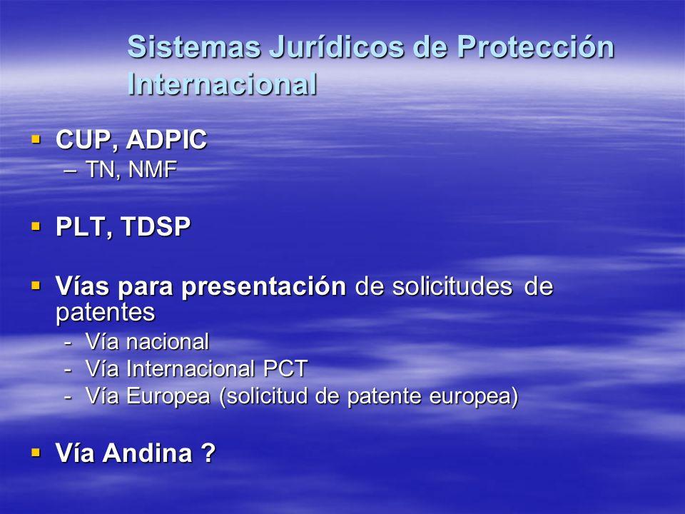 Sistemas Jurídicos de Protección Internacional CUP, ADPIC CUP, ADPIC –TN, NMF PLT, TDSP PLT, TDSP Vías para presentación de solicitudes de patentes Ví