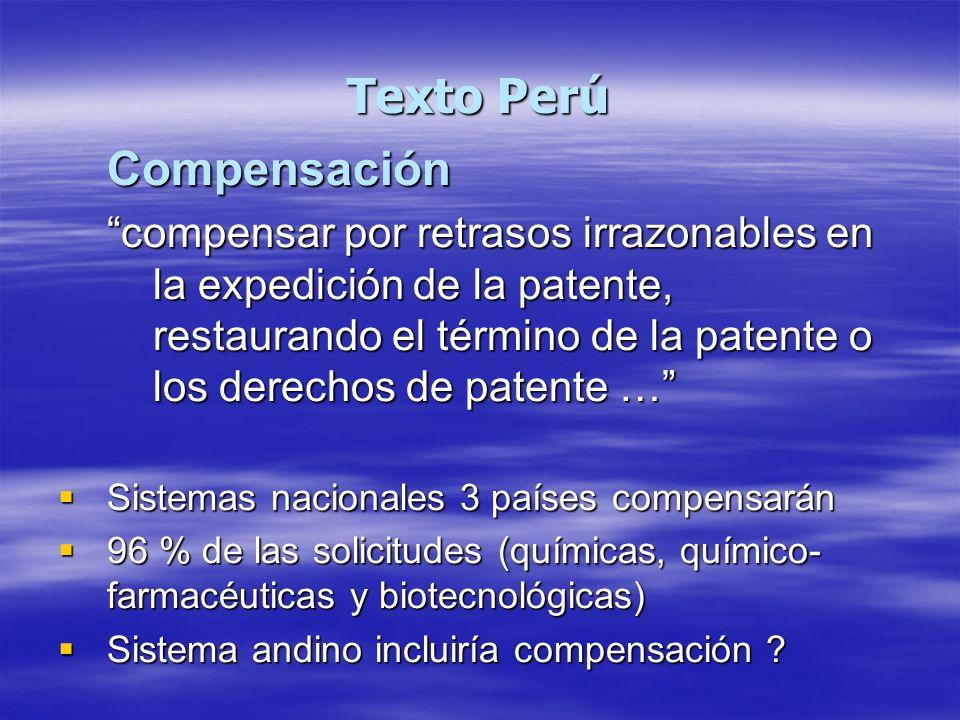 Texto Perú Compensación compensar por retrasos irrazonables en la expedición de la patente, restaurando el término de la patente o los derechos de pat