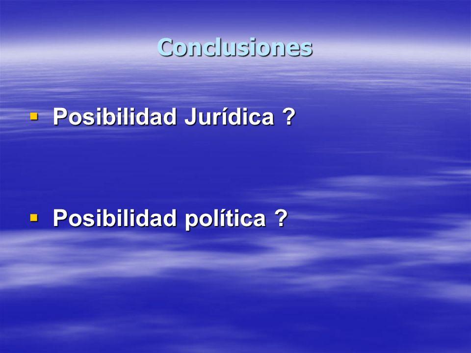 Conclusiones Posibilidad Jurídica ? Posibilidad Jurídica ? Posibilidad política ? Posibilidad política ?