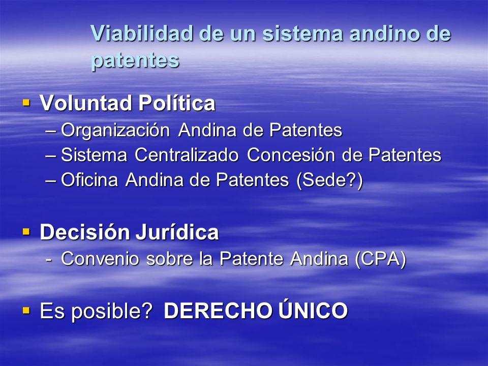 Viabilidad de un sistema andino de patentes Voluntad Política Voluntad Política –Organización Andina de Patentes –Sistema Centralizado Concesión de Pa