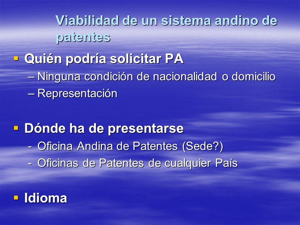 Viabilidad de un sistema andino de patentes Quién podría solicitar PA Quién podría solicitar PA –Ninguna condición de nacionalidad o domicilio –Repres