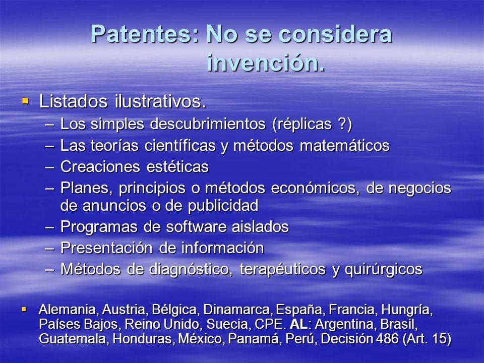 Patentes: No se considera invención. Listados ilustrativos. Listados ilustrativos. –Los simples descubrimientos (réplicas ?) –Las teorías científicas