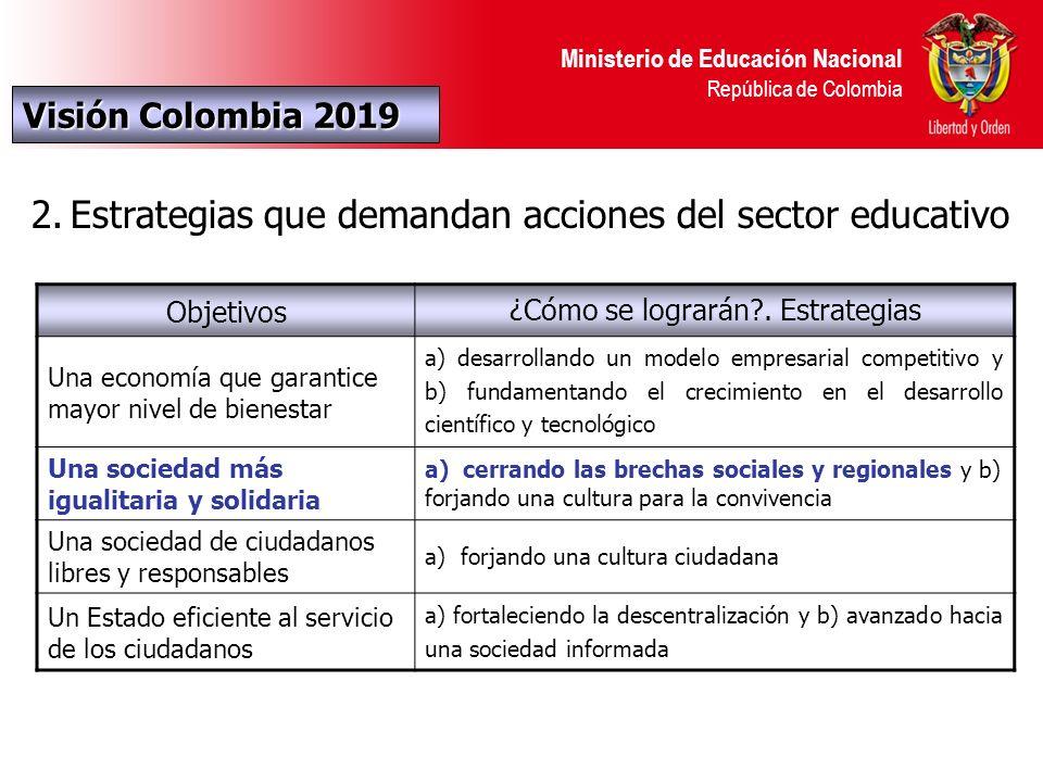 Ministerio de Educación Nacional República de Colombia Visión Colombia 2019 2.Estrategias que demandan acciones del sector educativo Objetivos ¿Cómo se lograrán?.