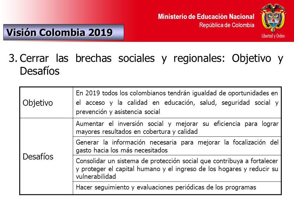 Ministerio de Educación Nacional República de Colombia AMPLIACIÓN DE LA COBERTURA Hacia dónde vamos Colombia 2019