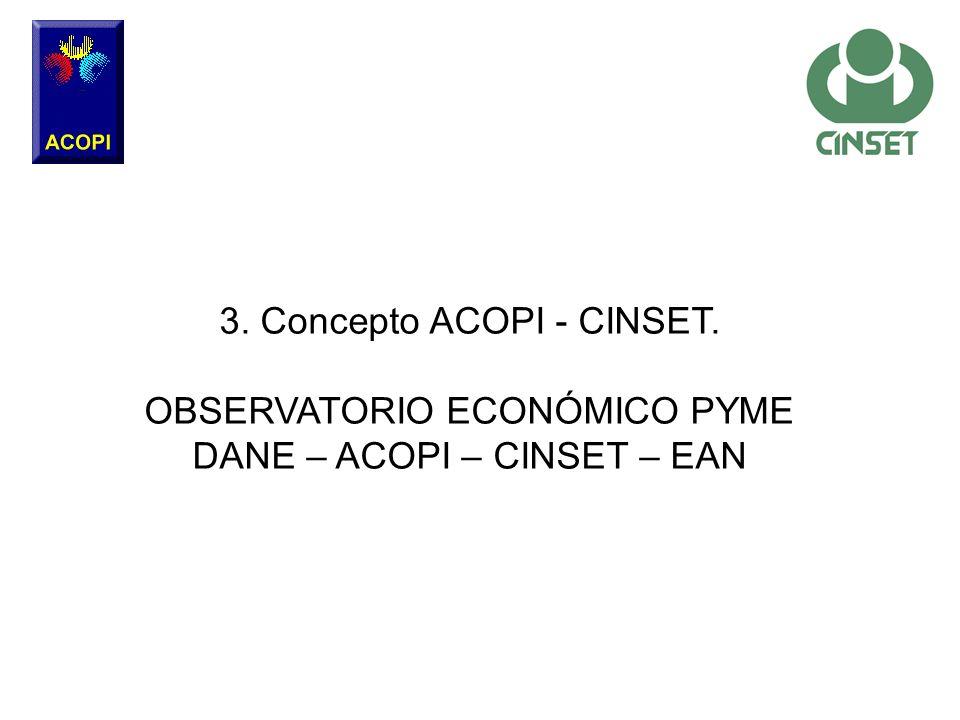 3. Concepto ACOPI - CINSET. OBSERVATORIO ECONÓMICO PYME DANE – ACOPI – CINSET – EAN