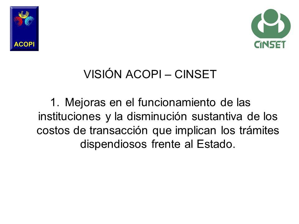 VISIÓN ACOPI – CINSET 1.Mejoras en el funcionamiento de las instituciones y la disminución sustantiva de los costos de transacción que implican los tr