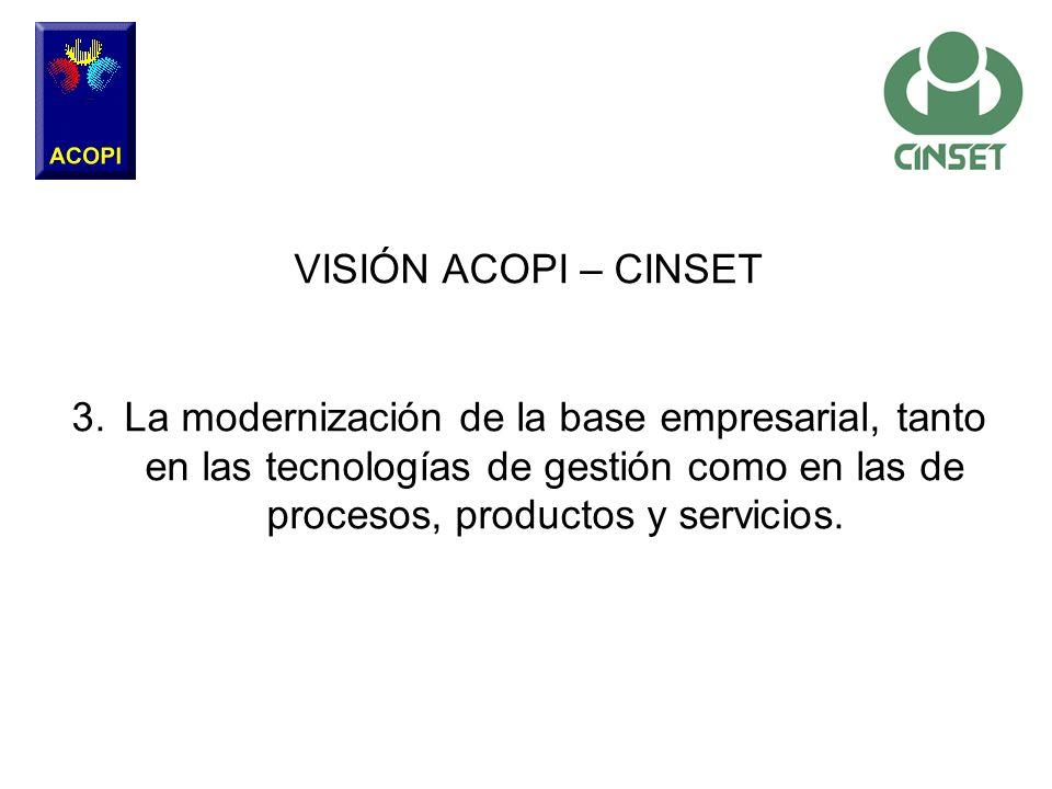 VISIÓN ACOPI – CINSET 3.La modernización de la base empresarial, tanto en las tecnologías de gestión como en las de procesos, productos y servicios.
