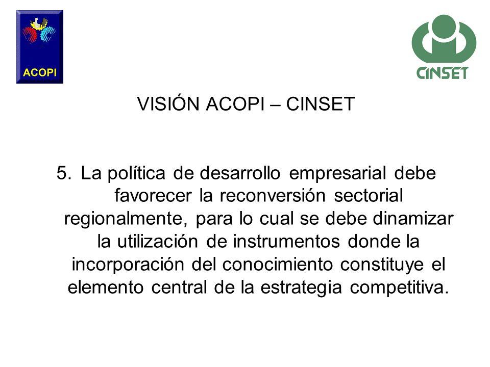 VISIÓN ACOPI – CINSET 5.La política de desarrollo empresarial debe favorecer la reconversión sectorial regionalmente, para lo cual se debe dinamizar l