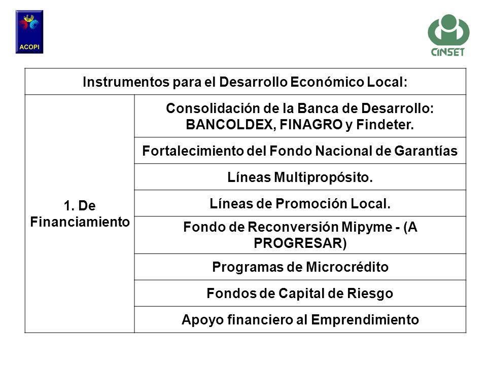Instrumentos para el Desarrollo Económico Local: 1. De Financiamiento Consolidación de la Banca de Desarrollo: BANCOLDEX, FINAGRO y Findeter. Fortalec