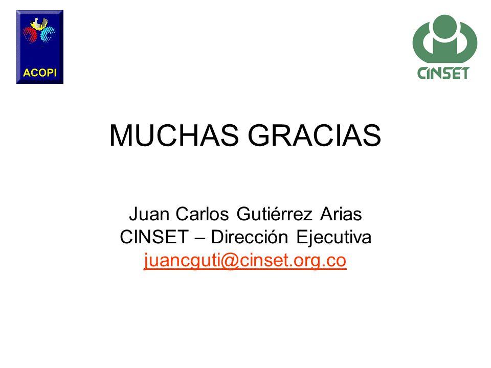 Juan Carlos Gutiérrez Arias CINSET – Dirección Ejecutiva juancguti@cinset.org.co MUCHAS GRACIAS