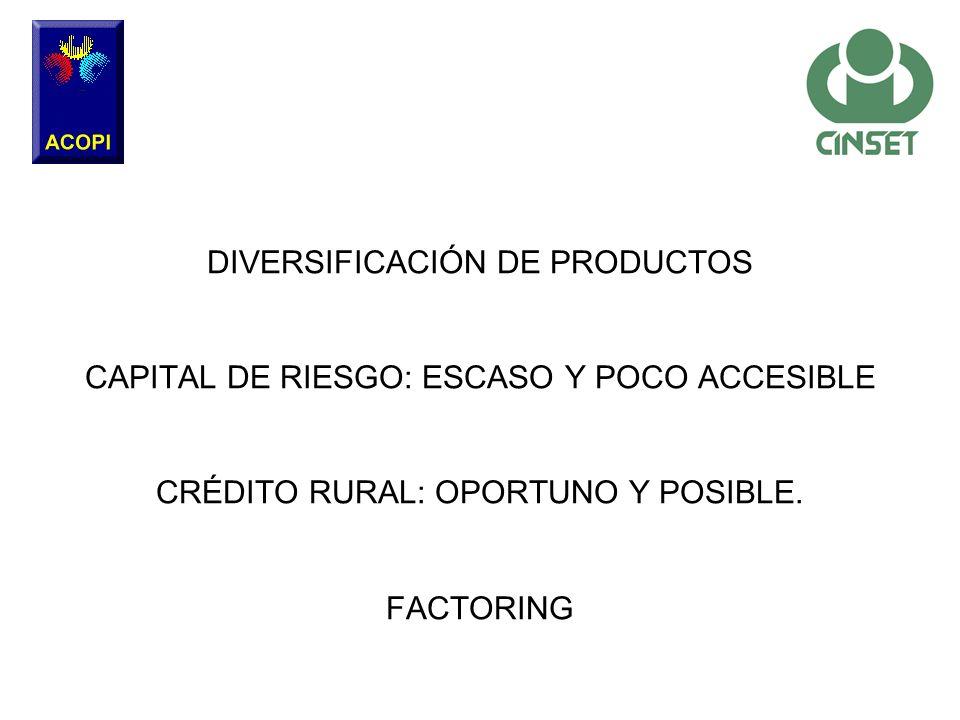 DIVERSIFICACIÓN DE PRODUCTOS CAPITAL DE RIESGO: ESCASO Y POCO ACCESIBLE CRÉDITO RURAL: OPORTUNO Y POSIBLE. FACTORING