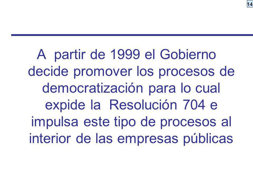 14 A partir de 1999 el Gobierno decide promover los procesos de democratización para lo cual expide la Resolución 704 e impulsa este tipo de procesos