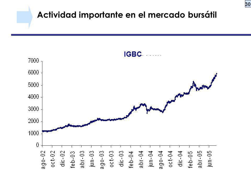 30 Actividad importante en el mercado bursátil IGBC