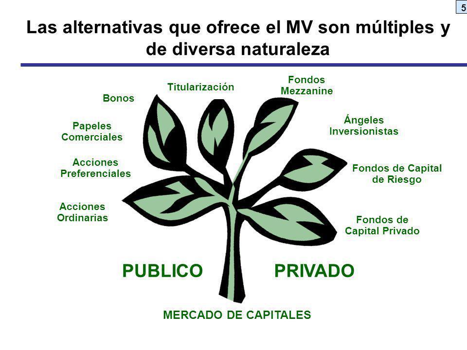5 MERCADO DE CAPITALES PUBLICOPRIVADO Acciones Preferenciales Papeles Comerciales Titularización Bonos Acciones Ordinarias Fondos Mezzanine Fondos de