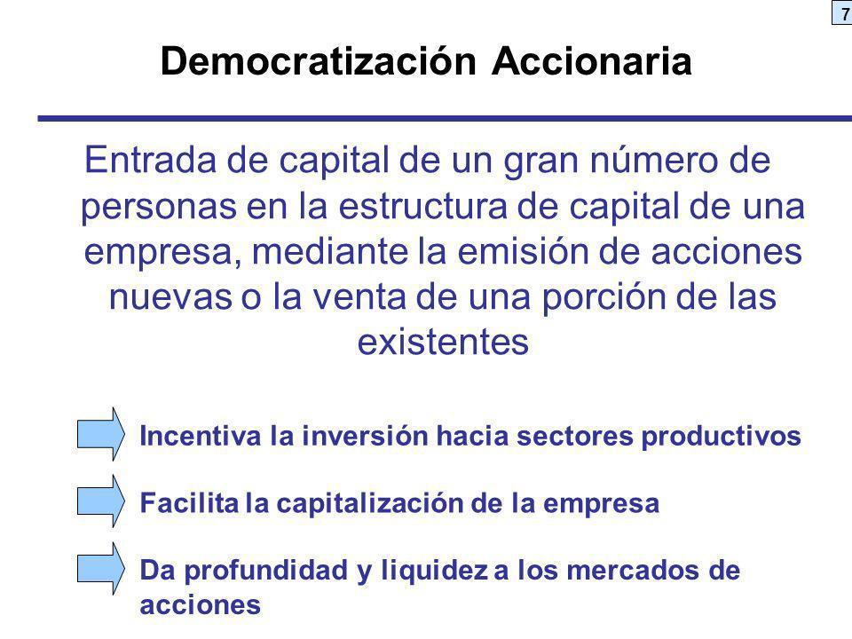7 Democratización Accionaria Entrada de capital de un gran número de personas en la estructura de capital de una empresa, mediante la emisión de accio