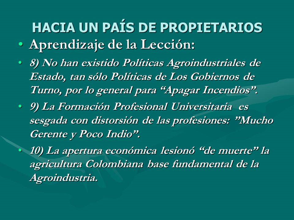 HACIA UN PAÍS DE PROPIETARIOS Aprendizaje de la Lección:Aprendizaje de la Lección: 8) No han existido Políticas Agroindustriales de Estado, tan sólo P