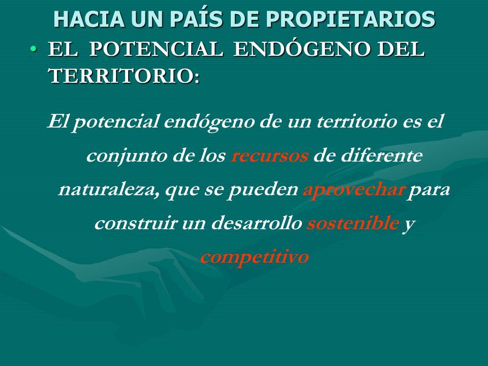 HACIA UN PAÍS DE PROPIETARIOS EL POTENCIAL ENDÓGENO DEL TERRITORIO:EL POTENCIAL ENDÓGENO DEL TERRITORIO: El potencial endógeno de un territorio es el