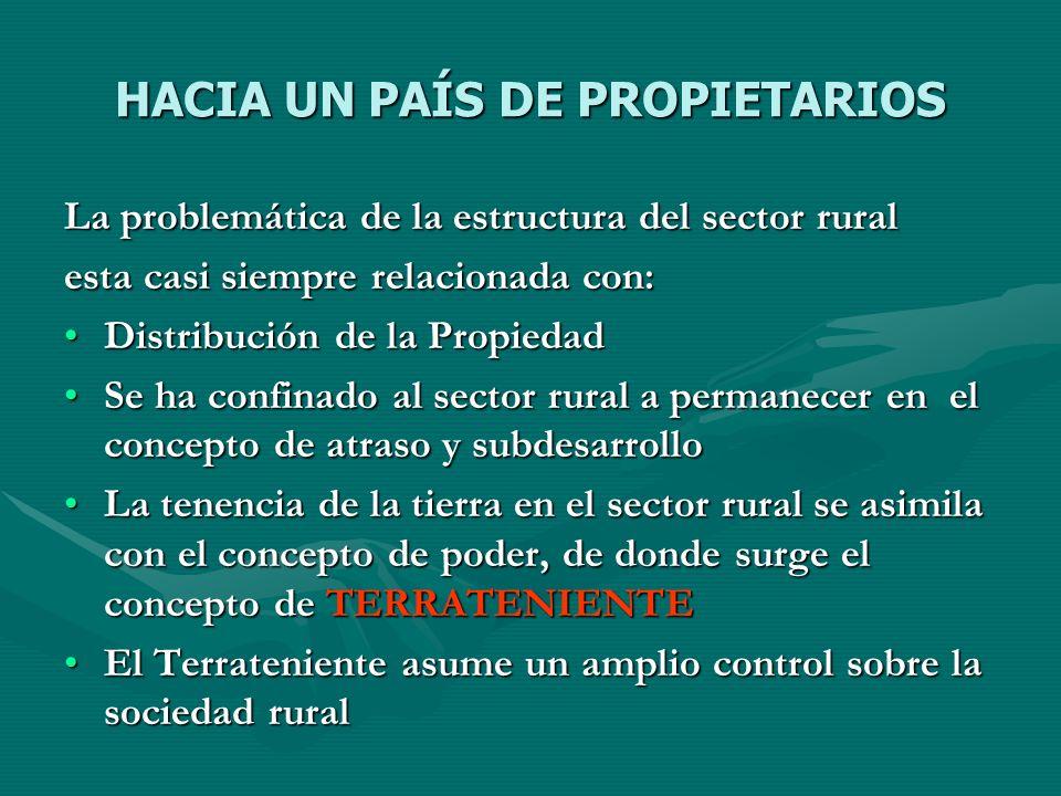 HACIA UN PAÍS DE PROPIETARIOS La problemática de la estructura del sector rural esta casi siempre relacionada con: Distribución de la PropiedadDistrib