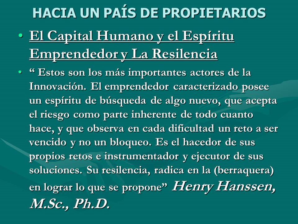 HACIA UN PAÍS DE PROPIETARIOS El Capital Humano y el Espíritu Emprendedor y La ResilenciaEl Capital Humano y el Espíritu Emprendedor y La Resilencia E