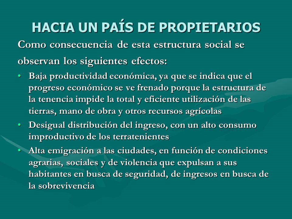 HACIA UN PAÍS DE PROPIETARIOS Como consecuencia de esta estructura social se observan los siguientes efectos: Baja productividad económica, ya que se