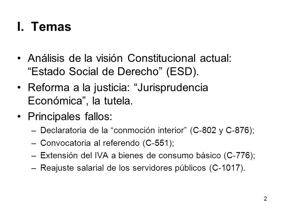 2 I. Temas Análisis de la visión Constitucional actual: Estado Social de Derecho (ESD). Reforma a la justicia: Jurisprudencia Económica, la tutela. Pr