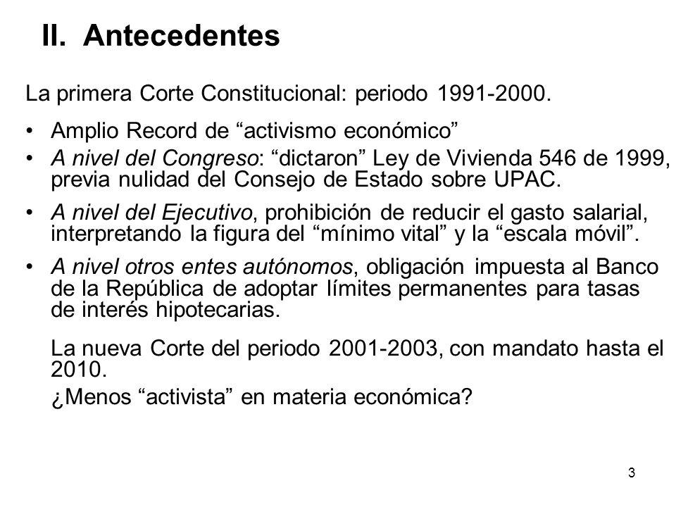 3 II. Antecedentes La primera Corte Constitucional: periodo 1991-2000. Amplio Record de activismo económico A nivel del Congreso: dictaron Ley de Vivi