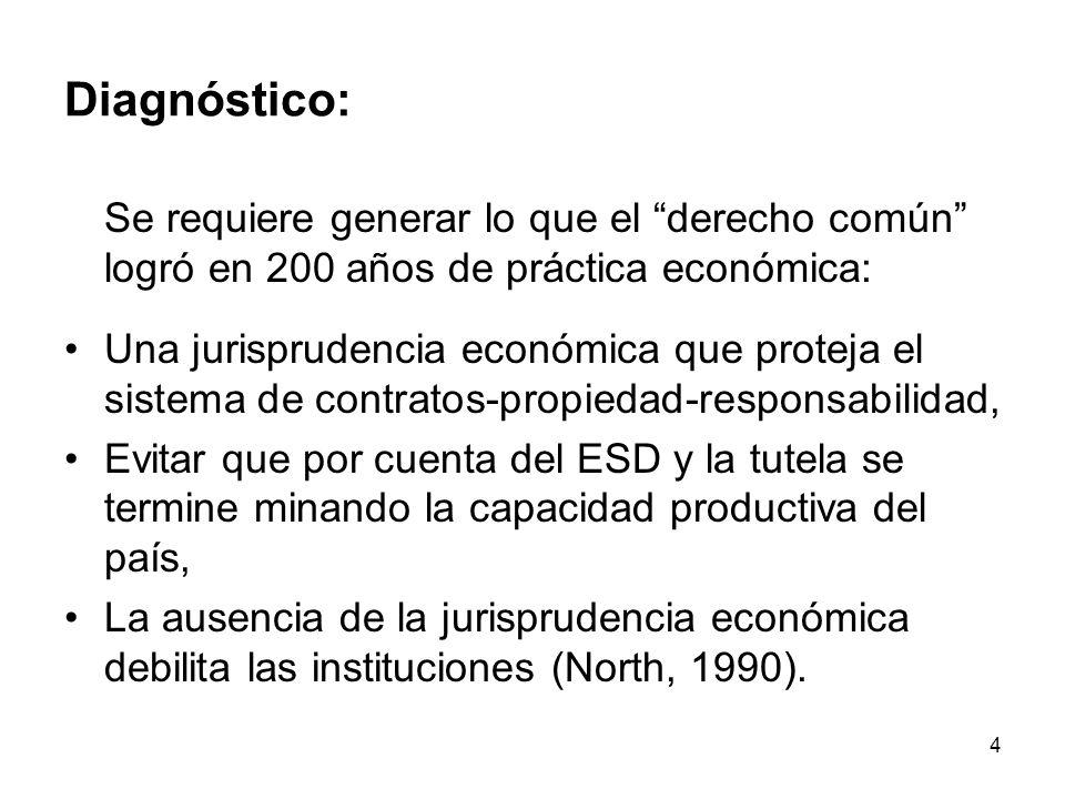 4 Diagnóstico: Se requiere generar lo que el derecho común logró en 200 años de práctica económica: Una jurisprudencia económica que proteja el sistem